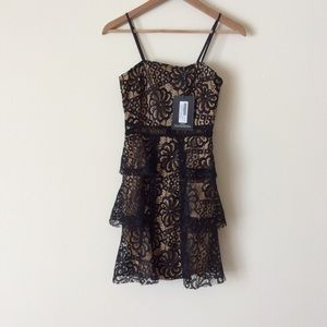 NWT Black Lace Tiered Strappy Skater Dress